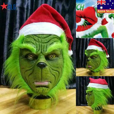 OZ Adult The Grinch Stole Mask With Christmas Hat Party Prop Cosplay Costume