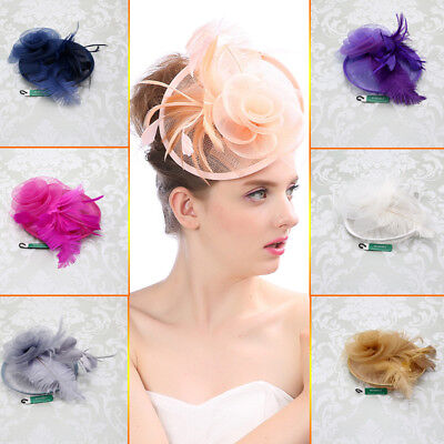 1X Women's Cocktail Wedding Party Headpiece Clip Fascinator Hat Feather Headband
