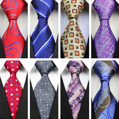 COM509 Red Blue Purple Gray Floral Wedding Stripe Necktie Silk Business Mens Tie