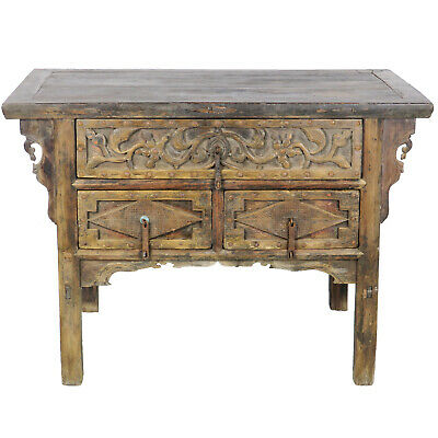 """Antique Chinese Asian 47"""" wide 3 Drawer Rustic Elm Cabinet Table with Carvings"""
