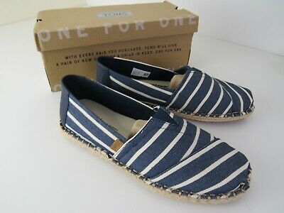 Toms Classic Riviera Stripe Mens Navy White Canvas & Synthetic Shoes uk8