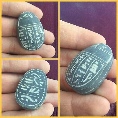 Rare ancient Egyptian luxor scarab beetle with hieroglyphics  , 300 bc