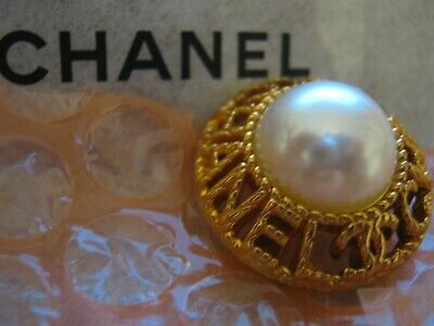 CHANEL 1 CC logo   GOLD pearl 24mm BUTTON THIS IS FOR 1