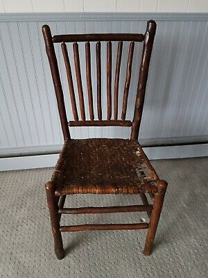 Antique Old Hickory Martinsville Indiana Chair 7 spindle weaved seat