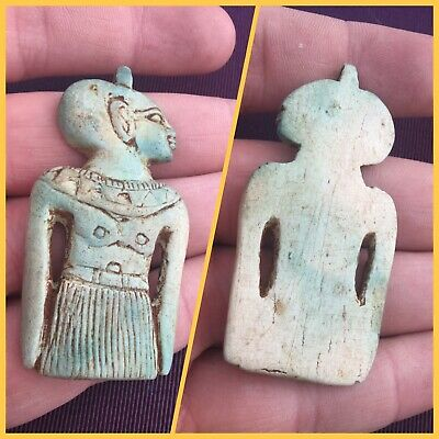 Rare ancient Egyptian blue faience Pharaoh amulet, 300 bc
