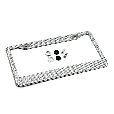 Custom Accessories 92838 Double Chrome License Plate Frame with White Bling