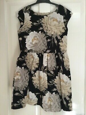 Girls Gap Summer Party Black Flowers Dress Age 10 years / Large