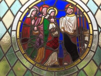 Antique Religious Stained Leaded Glass (Church)