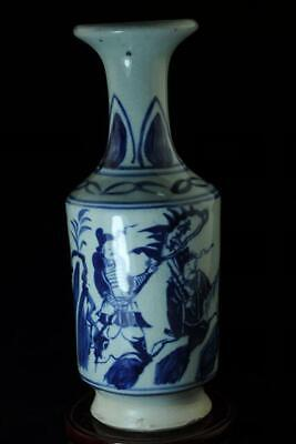 Chinese Old Hand-Made Blue And White Porcelain Hand Painted Character Vase C02