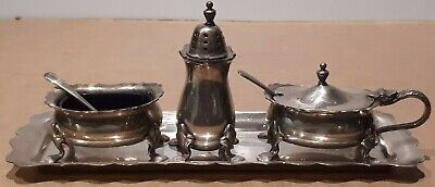 Lovely STRACHEN Silverplated Cruet set Pepper Mustard Salt on Tray with Spoons