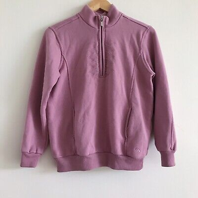 90s Vintage Fleece Lined Lilac Purple Geometric Quarter Zip Jumper Sweater