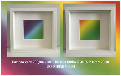 Rainbow Card for IKEA RIBBA BOX FRAMES - use with Mount. 200gsm x 4 inserts