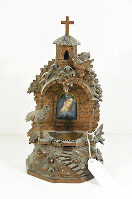 Rare BLACK FOREST wood carved Holy water font well Chapel porcelain plaque
