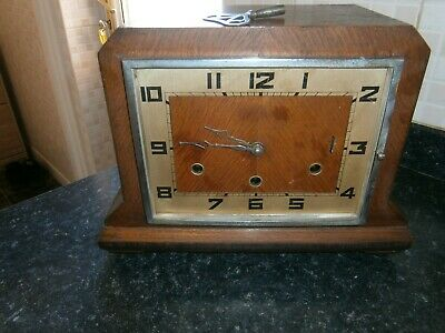Wooden Mantle Clock with Westminster Chimes (working spares)