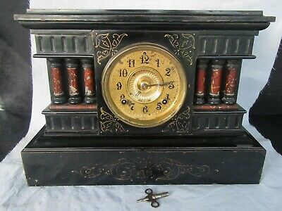 RARE Antique 1882 Ansonia Cast Iron & Enamel Shelf Clock, 6 Column, Works