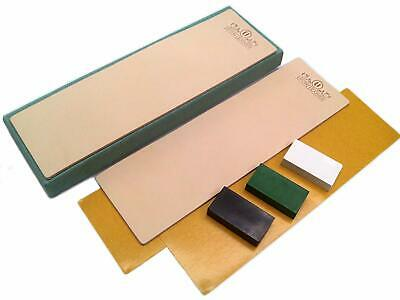 Kit of 2 Leather Honing Strop 3 Inch by 10 Inch with 3 One Oz. Black, Green