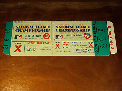 1969 NLCS Game X FULL Ticket Phantom Chicago Cubs Black Cat Almost World Series