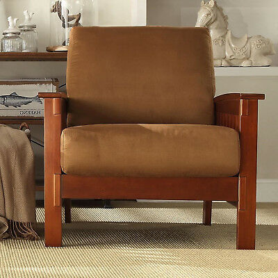 Rust Mission Style Arm Chair Oak Wood Living Room Furniture New Accent Armchair
