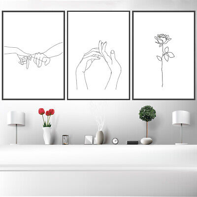 Nordic Abstract Sketch Art Black White Line Drawing Wall Hanging Home Art Decor