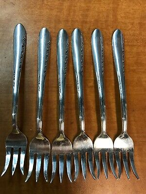 Set of 6 Reed & Barton SILVER BLOSSOM Silverplated Seafood Cocktail Forks  1955
