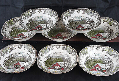 (8) JOHNSON BROTHERS FRIENDLY VILLAGE Square Cereal Bowls ENGLAND Covered Bridge