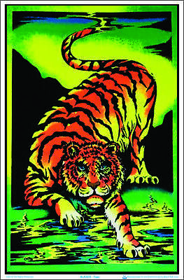 Crouching Tiger Flocked Blacklight Poster 23-by-35 Inches