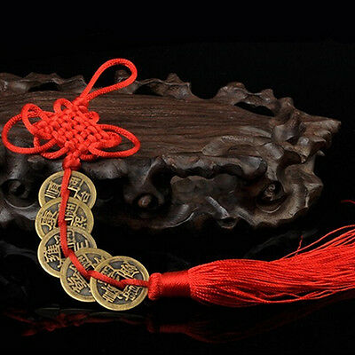 Chinese Feng Shui Protection Fortune Lucky Charm Red Tassel String Tied CoinA!