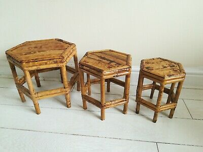 Rare RETRO VINTAGE MID CENTURY TIKI BAMBOO NEST OF SMALL TABLES - c1970 -