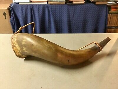 "GORGEOUS ANTIQUE POWDER HORN HAND CARVED- Large 14""- EXCELLENT CONDITION"