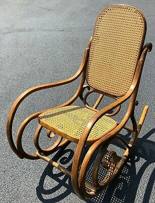 Vintage Bentwood Cane Rocking Chair Style of Thonet Stamped Made In Poland & R 4