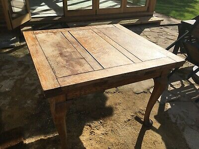 Vintage 19th Century French Oak Extendable Draw Leaf Farmhouse Dining Table.