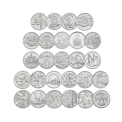 10P A-Z Alphabet 10 Pence Uncirculated Coins From Sealed Bags - Various Designs