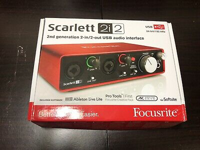 Focusrite Scarlett 2i2 2nd Gen MKII 2 In/2 Out USB Audio Interface Open Box