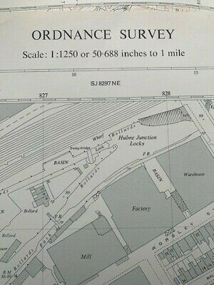 Vintage Ordnance Survey Map National Grid plans Manchester Salford Scale 1:1250