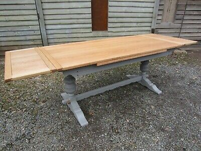 8.5ft Large Old Charm Oak Extending Dining Table Painted Farrow & Ball..Osmo Oil