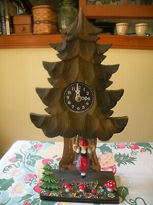 Pine Tree with Swinging Girl, Quartz Movement Wood German Clock Made in Germany