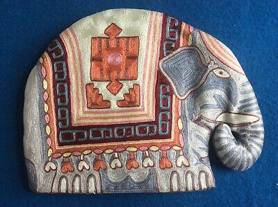 Crewel-work Vintage Elephant Tea Cosy In Bright Pastel Colours In Pink Palette