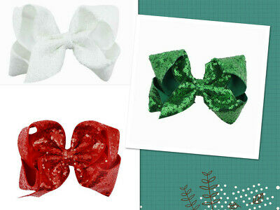3PCS Girls Toddler Baby 6 Inch Large Sparkly Sequin Bows Hair Clip Christmas