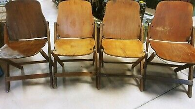 Vintage Antique Us Wwii Wood Folding Theater Chairs Set Of 4