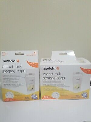 2 Medela Pump and Save Breast Milk Bags 50 and 100 Count Transport Pouch
