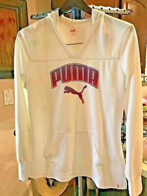 PUMA Sport Lifestyle  white Athletic long sleeved hoodie Size Large