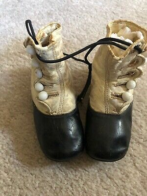 Antique Vtg Victorian Baby Childs Button Boot Leather Shoes