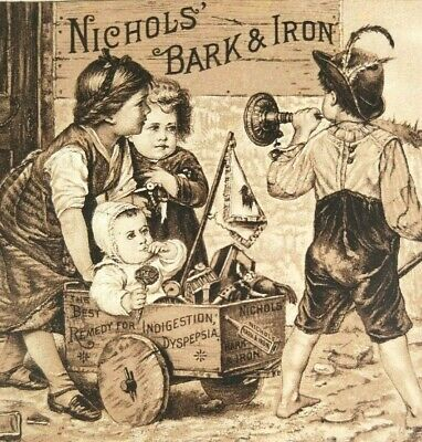 Victorian Antique Ad Nichols Bark & Iron Quack Tonic Remedy Billings Clapp & Co