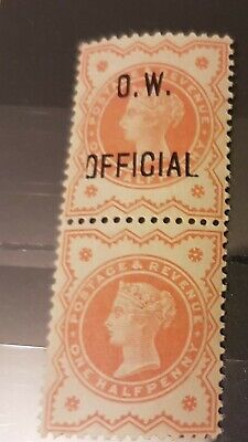 EXTREMLY RARE PAIR GB Queen Victoria O.W. OFFICIALS Stamp SGO31 SG O31 QV ERROR