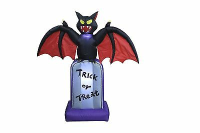 5 Foot Halloween Inflatable Black Bat on Tombstone Outdoor Party Yard Decoration
