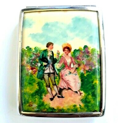 Vintage Art Deco Volupte Vanity Compact With Hand Painted Victorian Couple.