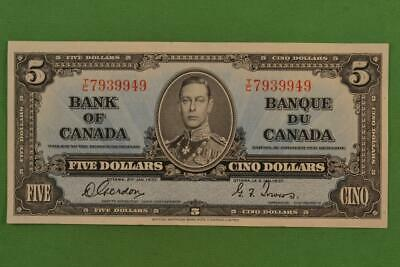 1937 Bank of Canada $5 Five Dollar Note Gordon Towers TC 7939949 Ungraded