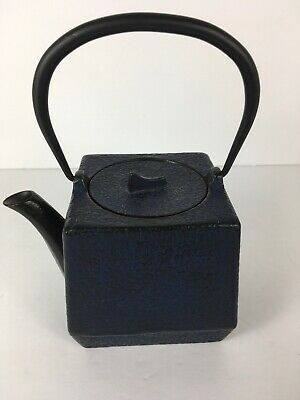 Japanese Cast Iron TETSUBIN Square Tea Pot Kettle Signed Japanese Vintage Blue