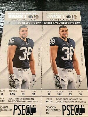 2 Penn State football tickets vs. Idaho, 8/31/19