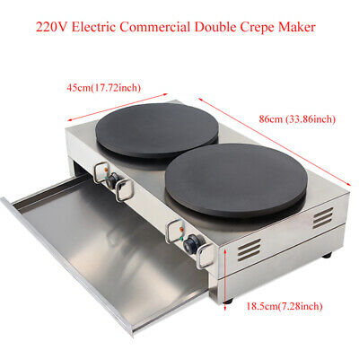 Electric Commercial Double Crepe Maker Machine Non Stick Pancake Pan Griddle